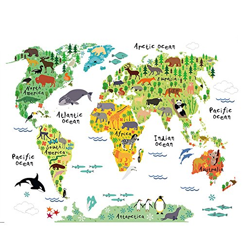 Cartoon Background Colorful English Words World Map Wall Art Decals Stickers Vinyl For Kids Rooms Parlour Television Wall Home Decal Home Decoration ()
