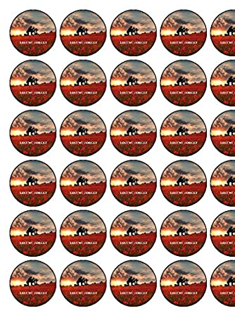 """RED POPPY FLOWER /""""LEST WE FORGET/"""" REMEMBERANCE EDIBLE CUPCAKE TOPPER DECORATIONS"""