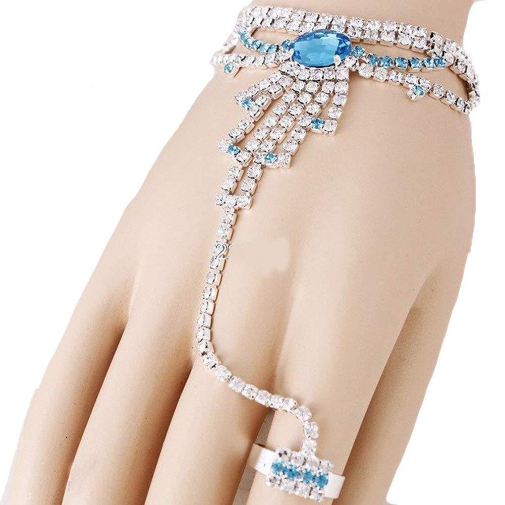 VGS Fashion Jewelry Bracelet Ring Combo~ Light Blue Rhinestones Crystal Hand Chain Slave Bracelet Ring 81374 S Light Blue