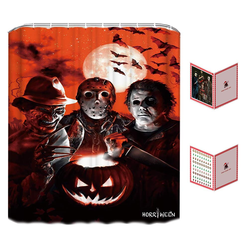 Halloween Shower Curtain Set for Bathroom- Scary Killer Freddy Jason Michael, Horror Movie Themed Holiday Polyester Fabric Decoration with Hooks and Greeting Cards, Halloween Decor 72x72