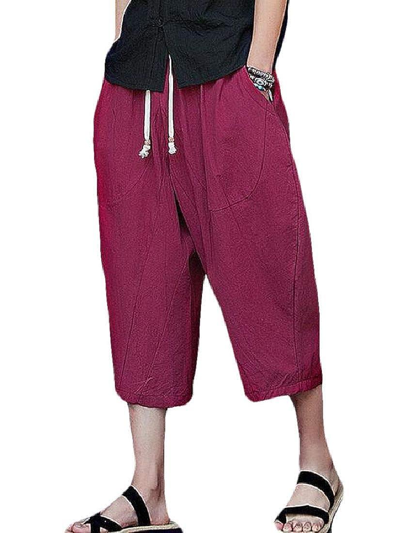 BYWX Men Loose Plus Size Chinese Style Cotton Linen Harem Capri Pants