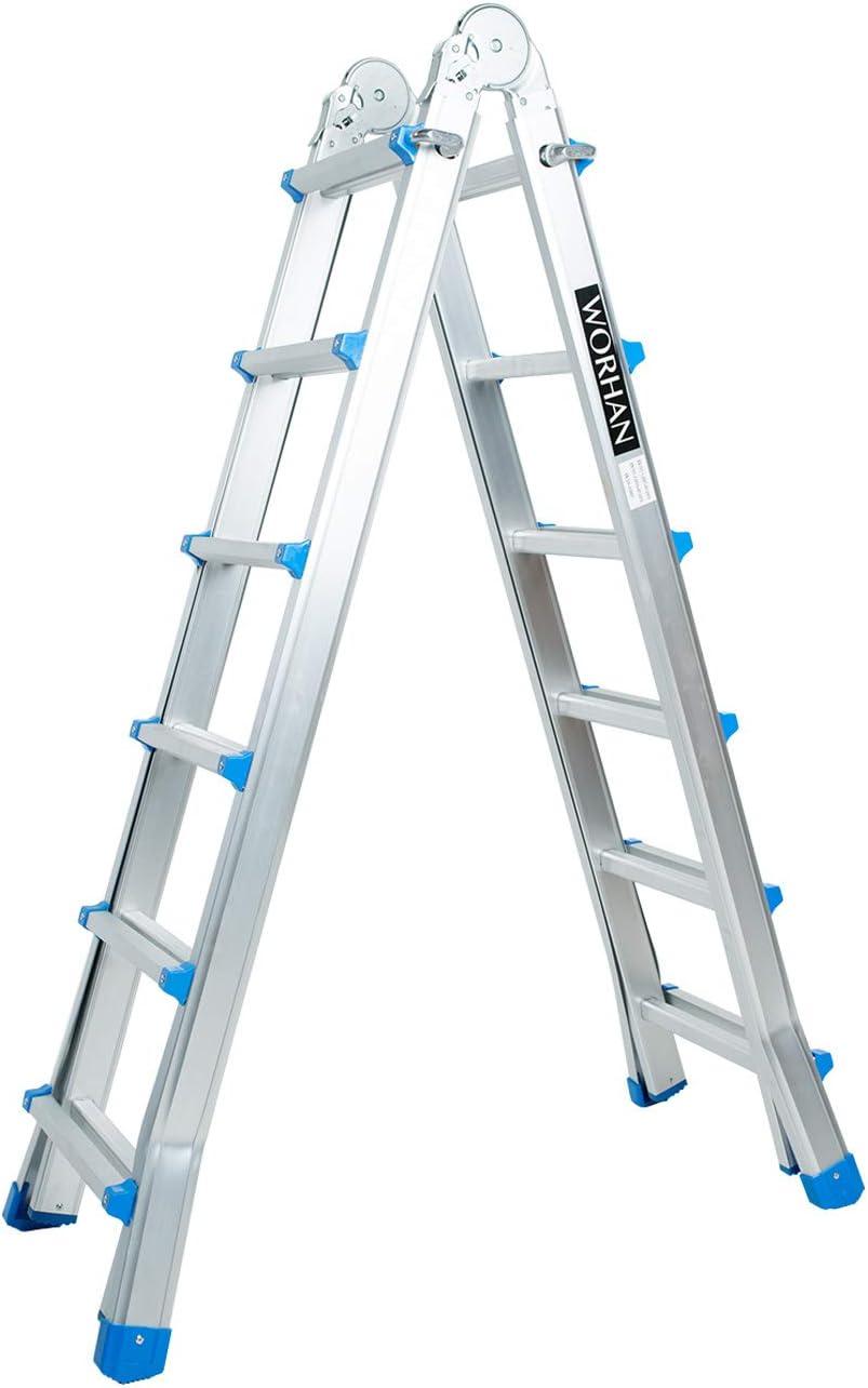 WORHAN® Escalera 587cm Aluminio Telescopica 5.87m Multifuncion Multiuso Aluminio Plegable Tijera L6: Amazon.es: Electrónica