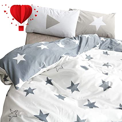 Amazoncom Bulutu Five Pointed Stars Kids Duvet Cover Set Twin Grey