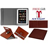 Acm Rotating 360° Leather Flip Case for Iball Slide 3g 1026-Q18 Cover Stand Brown (FREE Acm Wallet Included)