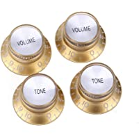 Musiclily Pro Imperial Inch Size Top Hat Bell Reflector 2 Volume 2 Tone Knobs Set for USA Les Paul SG Electric Guitar, Gold with Silver Top