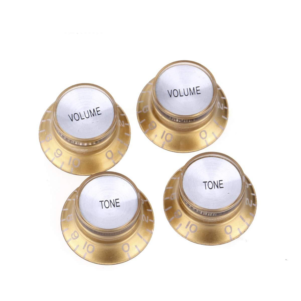 Oro con Plata Top Musiclily Pro Imperial Pulgadas Tama/ño Botones de Potenci/ómetros Reflector 2 Volumen 2 Tono Perillas Set para Guitarra El/éctrica USA Made Les Paul SG