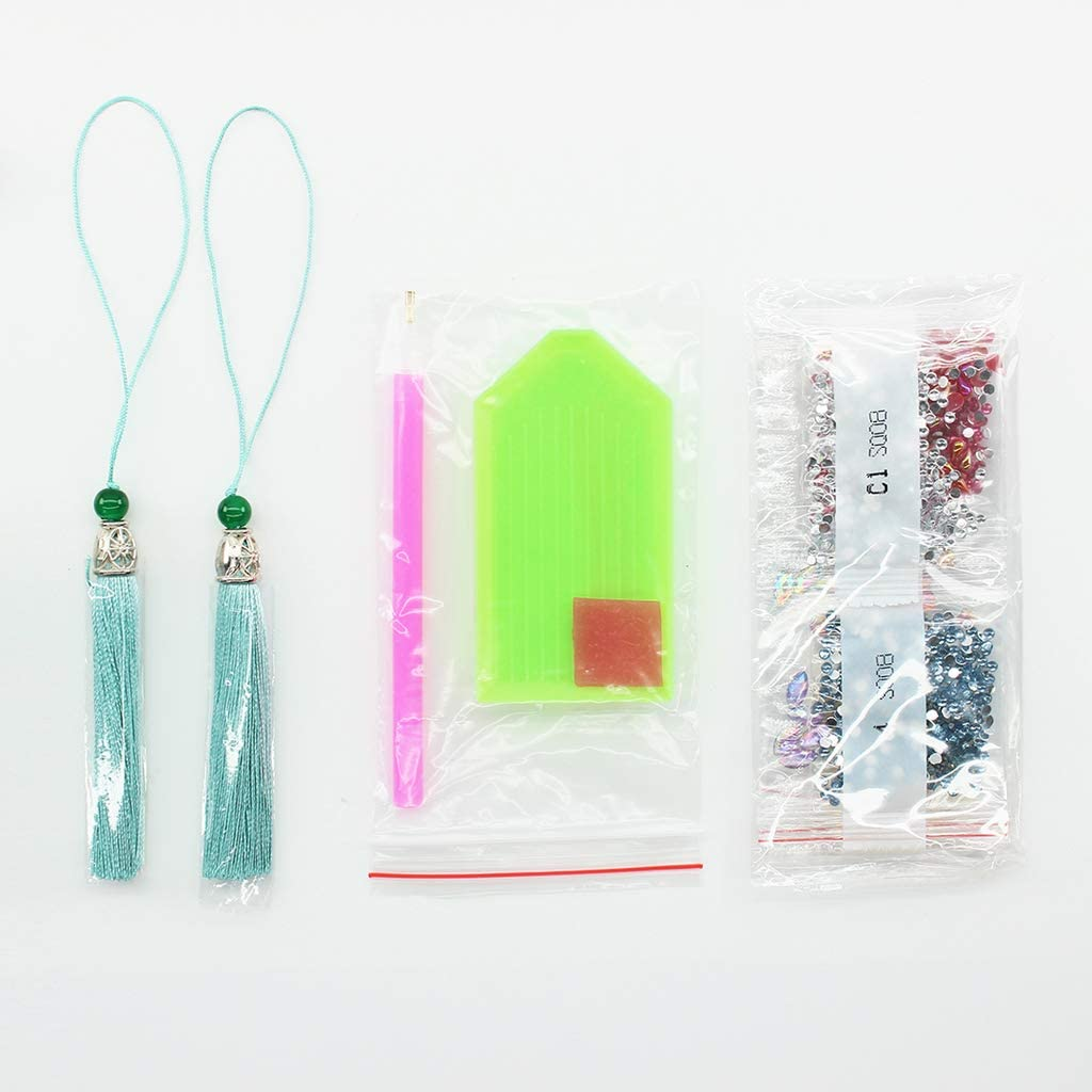 Yajom 2 Pieces DIY Making Bookmark Birds and Flowers,Diamond Painting Bookmark Kit,Decorated with Beaded Tassels Pendant