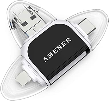 Adaptador USB lector de tarjetas AMENER SD y lector de tarjetas micro SD para smartphone, portátil,