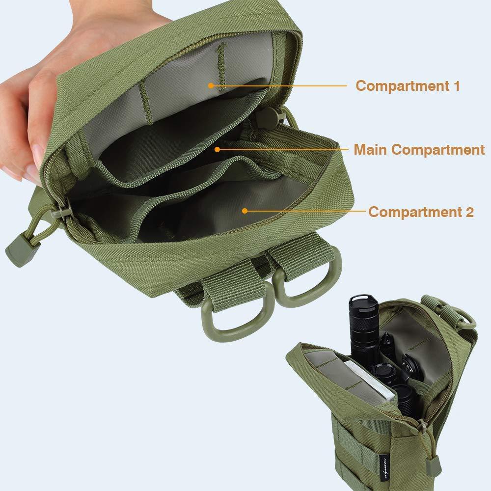 2 Pack Green-Molle Pouch piccola custodia per attrezzatura da trekking Airsson Molle