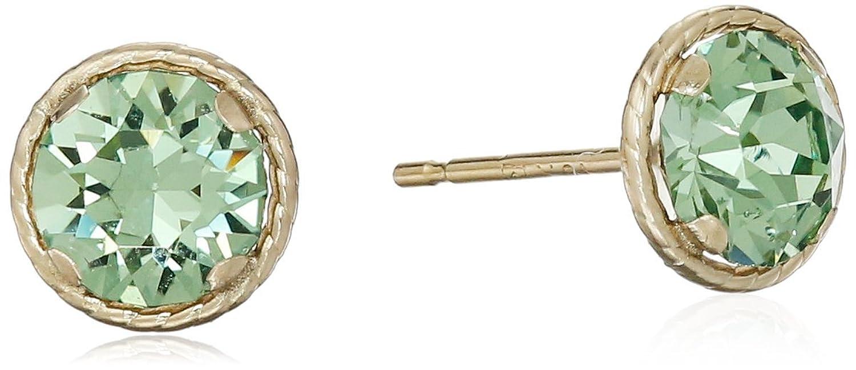 10k Yellow Gold Round Swarovski Crystal Birthstone Earrings