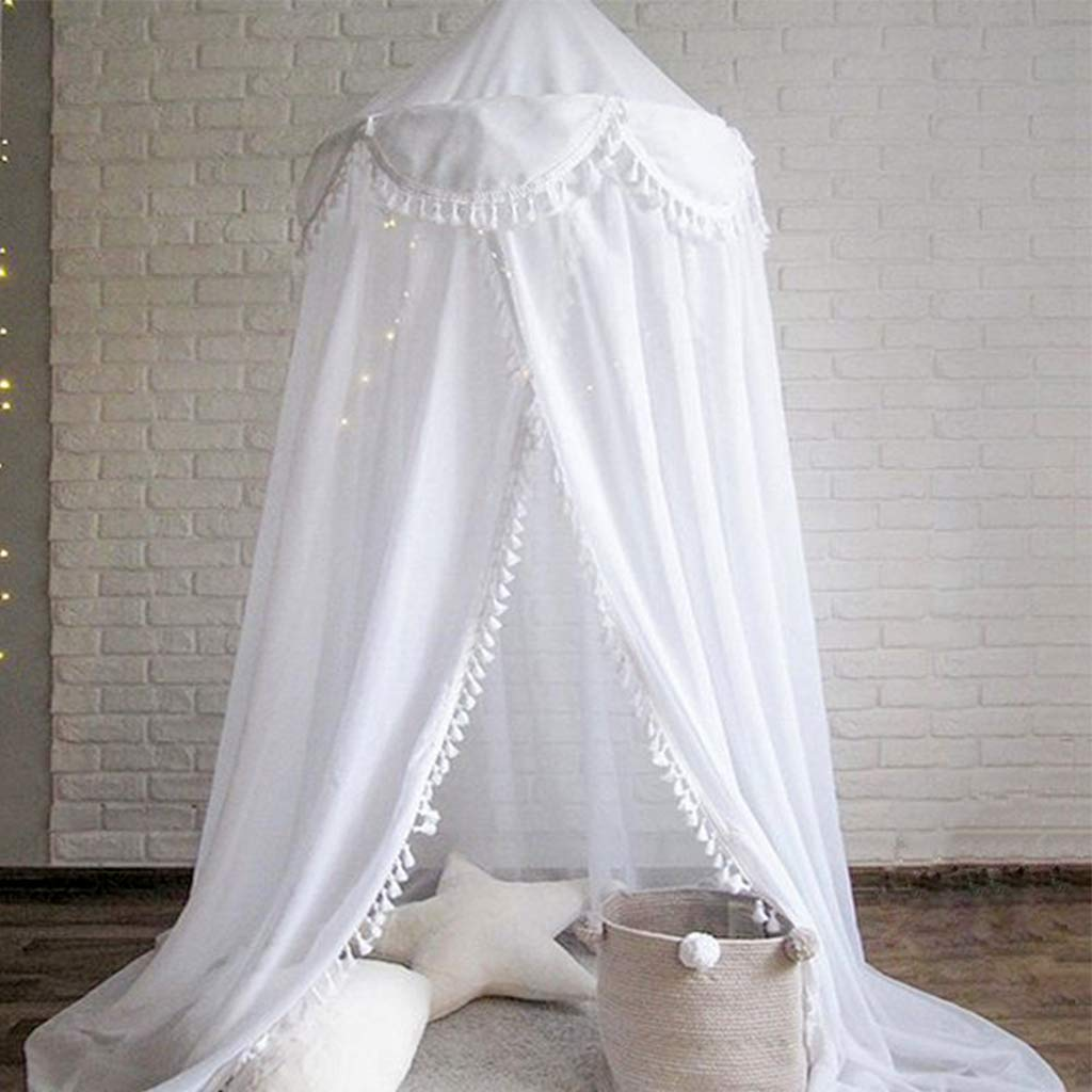 Bed Canopy Round Dome, Chiffon Mosquito Net Indoor Outdoor Playing Reading Tent Bedroom Decoration for Baby Kids Room (White)