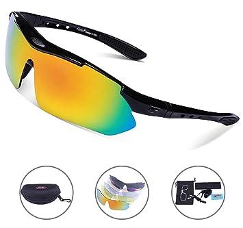 Carfia Gafas de Sol Deportivas Polarizadas, TR90 UV400 Unisex Gafas de Sol Deportivas Polarizadas 5 Lentes de Cambios Incluido para Deporte y Aire ...