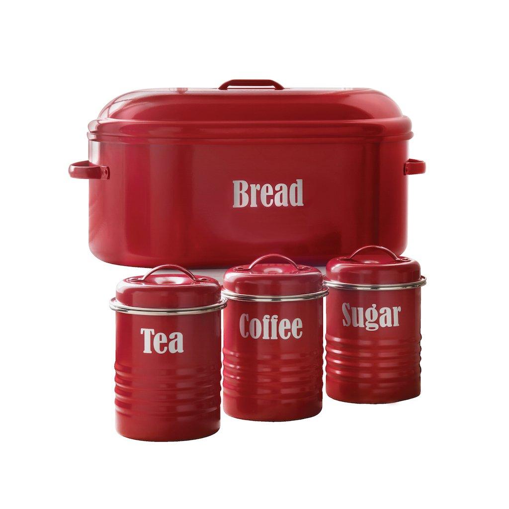 typhoon vintage red bread bin u0026 free storage set amazon co uk