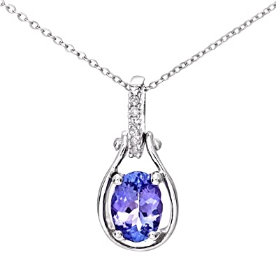 Naava womens 9 ct white gold tanzanite pendant necklace with naava womens 9 ct white gold tanzanite pendant necklace with diamond aloadofball Gallery