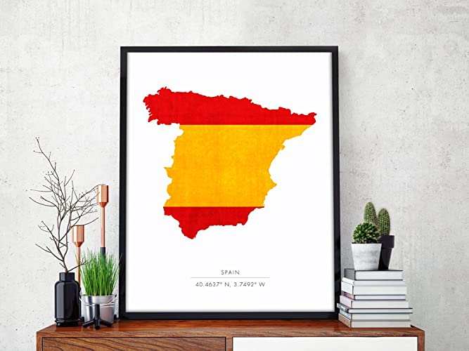 Map Of Spain For Printing.Amazon Com Spain Map Spain Print Spain Map Print Spain Art Print