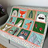 Woodland Baby Quilt, Forest Animals, Fox, Bear, Deer, Toddler Blanket, Nursery Bedding