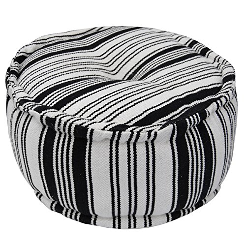 Herat Oriental Indo Handmade Striped Cotton Round Puff by Herat Oriental
