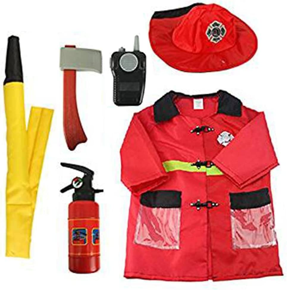 RecoverLOVE 6 PCS Kids Fire Chief Disfraz Juego de Disfraces Juego de Disfraces de Halloween Pretend Play Toy Toy Firefighter Costume con Accesorios para niños