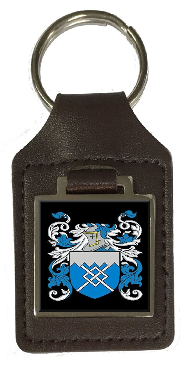 Bald Family Crest Surname Coat Of Arms Brown Leather Keyring Engraved