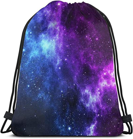 Purple Galaxy Drawstring Bag~Space and Stars Drawstring Bag~Colorful Nebula Book Bag~Lightweight Sorts Bag~Gift for Kids~Nerdy Space Bags
