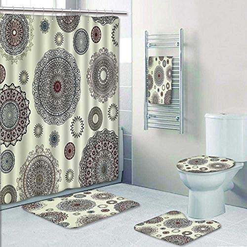 AmaPark 5-Piece Bathroom Set-Includes Shower Curtain Liner, Bathroom Rugs and Bath Towel,Ornate Round Motifs Forms Oriental Nostalgic Islamic Art Style Old World in Retro Decorate The Bath by AmaPark