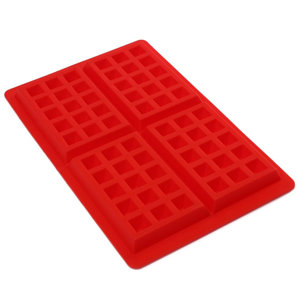 STONCEL 4-Cavity DIY Mini Waffles Cake Chocolate Pan Silicone Tray Mold Baking Mould Tool Red