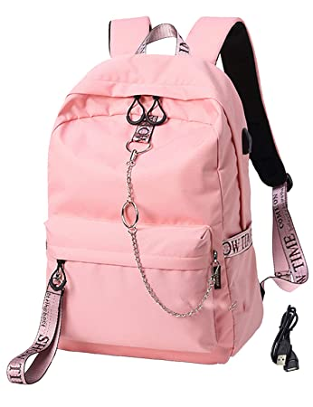 8e9f54fd4 Amazon.com: El-fmly Fashion Backpack with USB Port College School Bags Girls  Cute Bookbags Student Laptop Bag Pack Super Cute for School for Teenage -  Pink: ...