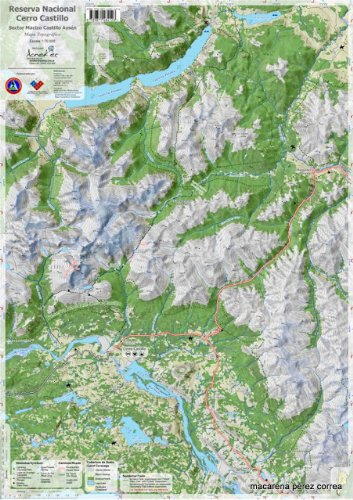 Reserva Nacional Cerro Castillo Chile Hiking Map. 1:70,000