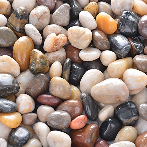 OUPENG Pebbles 2 Pounds Polished Gravel, Natural Polished Mixed Color Stones, Small Decorative River Rock Stones (32-Oz)