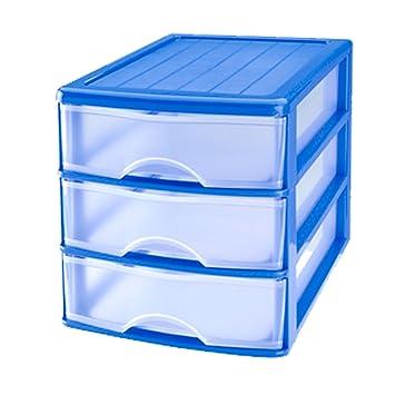 Plastic Forte Cajonera de plástico 3 cajones-Azul 17.5 x 17,5 x 21,5 cm
