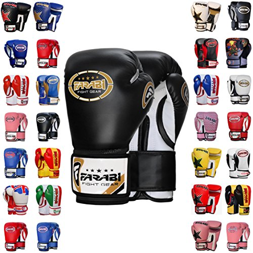 (Farabi Boxing Gloves Kids Junior Muay Thai Kick Boxing Training MMA Punching Bag (6OZ, Black))