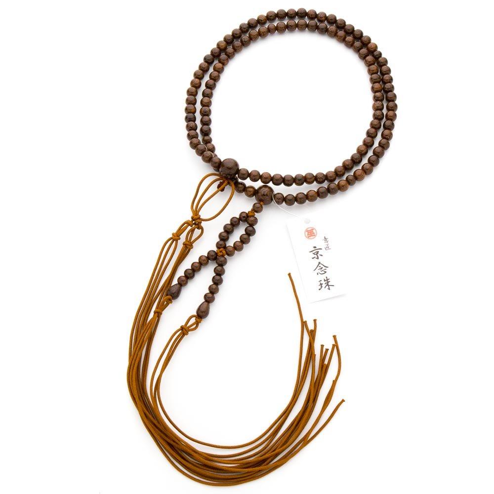 数珠男性用 浄土真宗仕様 本式数珠 鉄刀木 8mm 正絹房 B015U65OIG