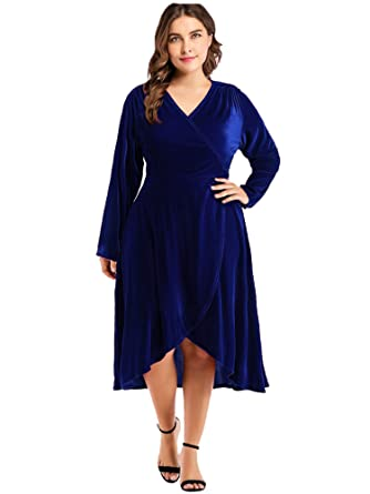 afb2494d0d047 GMHO Women's Plus Size Sexy Faux Wrap Velvet Cocktai Party Midi Dress  (Blue, ...