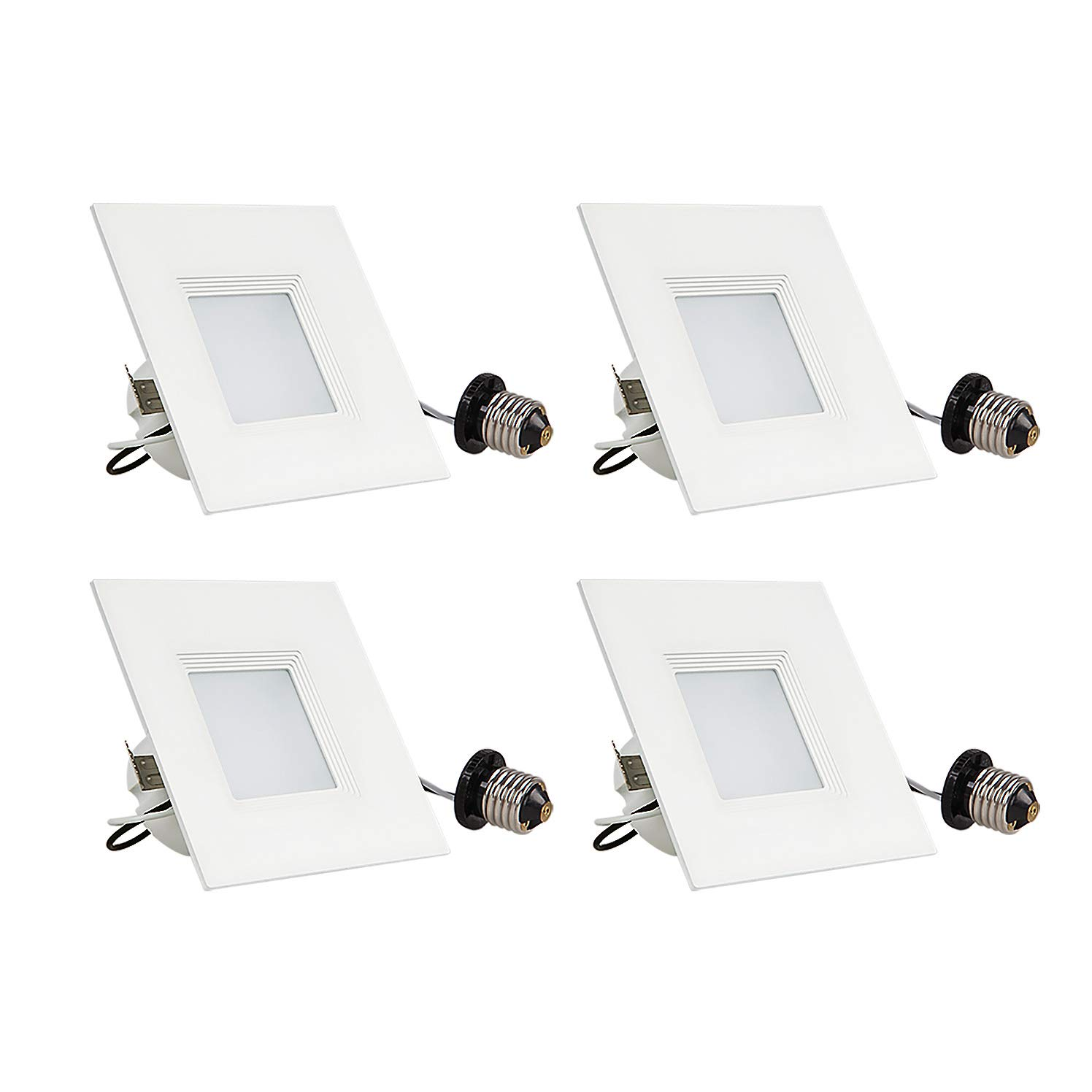 OSTWIN (4 Pack) 4 inch Dimmable LED Square Downlight, 10W (50W Replacement), Baffle Design, Retrofit Recessed Lighting, Can Light, LED Trim, 4000K (Bright Light), 650lm, Damp Rated, ETL & Energy Star