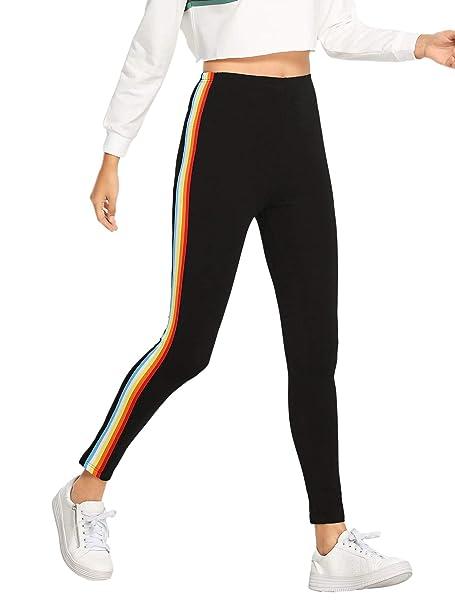 751af9f188e7e HUILAN Women's Rainbow Side Striped Skinny Leggings Yoga Pant Active Tights  Black S