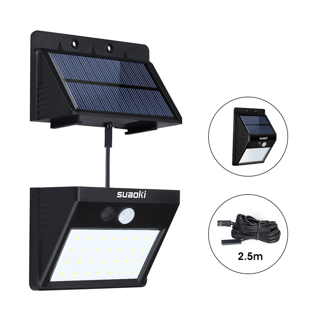 Suaoki Solar Lights Outdoor Super Bright 28 LED Waterproof Motion Sensor Security Light Detachable Design Wall Light for Deck Patio Yard Backyard Pathway Driveway Garden, Pack of 1 by SUAOKI