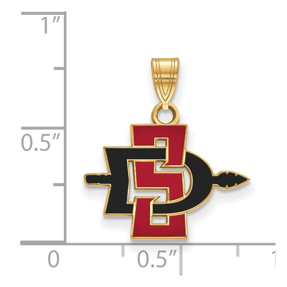 18mm x 19mm Solid 925 Sterling Silver with Gold-Toned San Diego State University Small Pendant