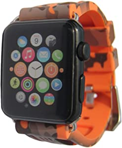 Sport Camo Waterproof Band Compatible for Apple Watch 42/44mm Camouflage Silicone Strap for iWatch 6/5/4/3/2/1/SE Rubber Band (Orange)