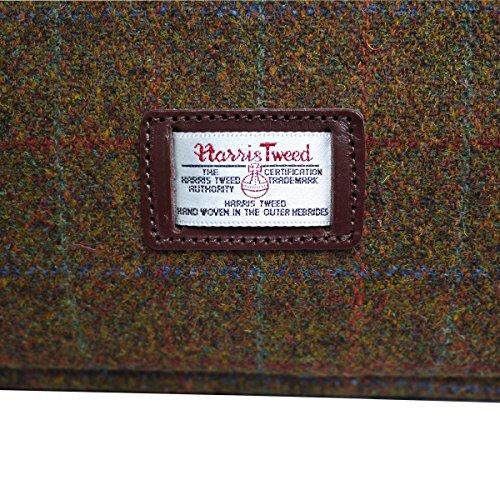 Bonfanti Leder und Harris Tweed Wochenende Kabine Tasche - braun multi schottischen Tartan