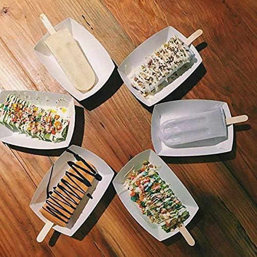 Dizie 100 St/ück Eisstiele aus Holz Popsicle Mittlere Gr/ö/ße Abmessungen Holzst/äbchen Holzspatel zum Basteln 114 2mm 10