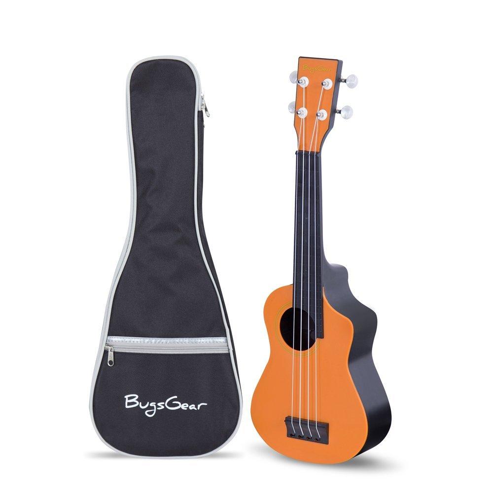 Bugs Gear RPNS-ORG-BK Portable Outdoor Kid Friendly 18 Fret Soprano Aqulele Water ResistantUkulelewith Case, Orange/Black