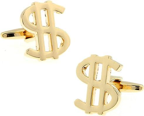 AnazoZ Gemelos Novio Cobre Gemelos Hombre Gemelos Símbolo Dólar Gemelo Camisa Oro: Amazon.es: Joyería