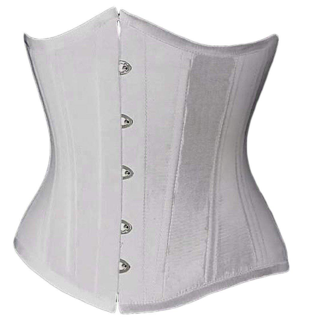 Vska Women's Steel Boned Torsolette Hourglass Satin Corset White XS