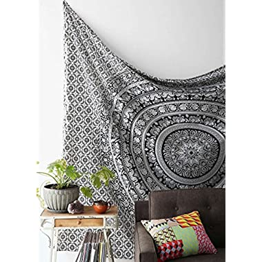 Popular Handicrafts Black & White Tapestries Hippie Mandala Intricate Floral Design Indian Bedspread Tapestry 84x90 Inches,(215cmsx230cms)