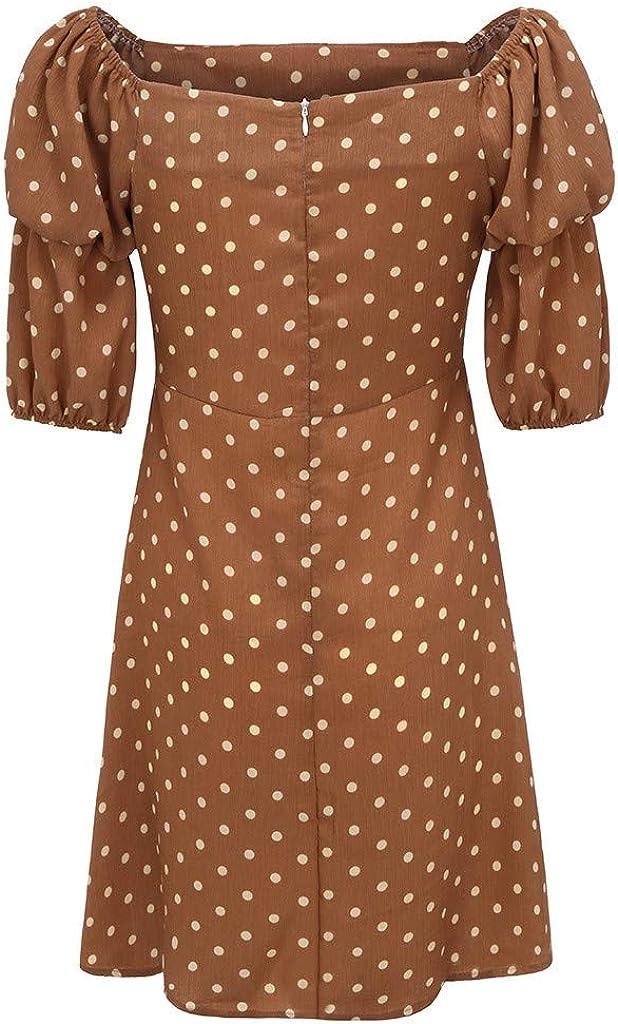 YULINGSTYLE Damen Kleid Frauenkleid Womens Dress Laternenkleid mit Rundhalsausschnitt und Punktmuster f/ür Damen