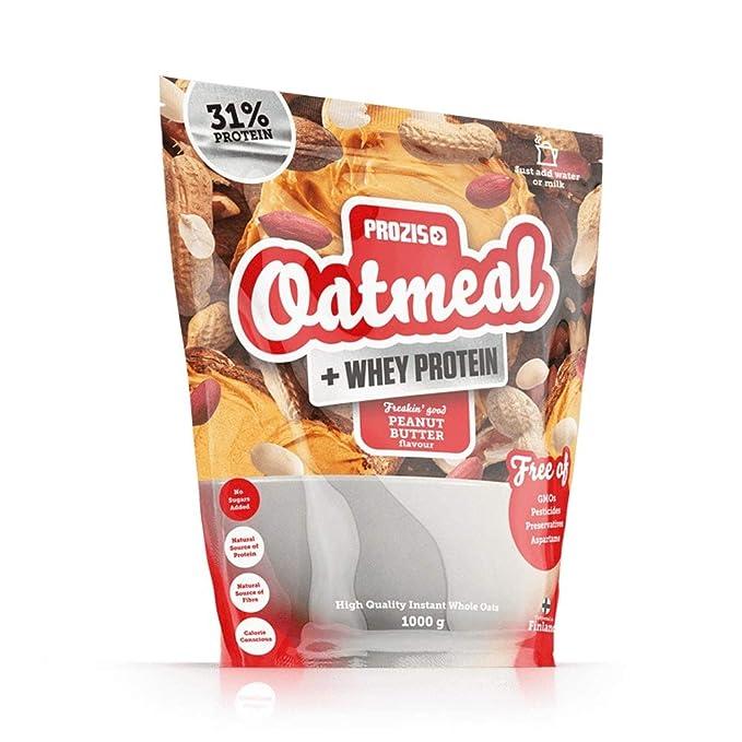 Prozis Oatmeal con Whey Protein 1000g - Cereales Repletos de Hidratos de Carbono de Alta Calidad y Fibras Saciantes -Sabor Mantequilla de Cacahuete -Apto ...