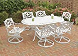 Cheap Home Styles 5552-335 Biscayne 7-Piece Outdoor Dining Set with Oval Shape Table and Swivel Chair, White Finish, 72-Inch