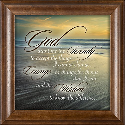 Elanze Designs Serenity Prayer Ocean Waves Verona Mocha Wood Finish 12 x 12 Framed Art Wall Plaque