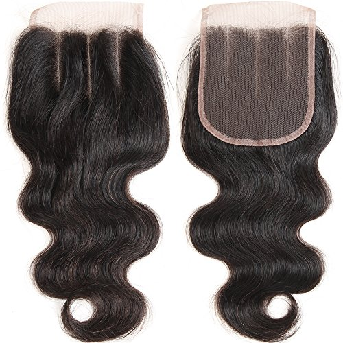 VRHOT 10 inch 3 Part Lace Closure Body Wave 4x4'' Three Part Lace Closure Brazilian Virgin Human Hair 100% Unprocessed Natural Color Soft Silky Hair Products for Black Women 8''-20'' (10 inch)
