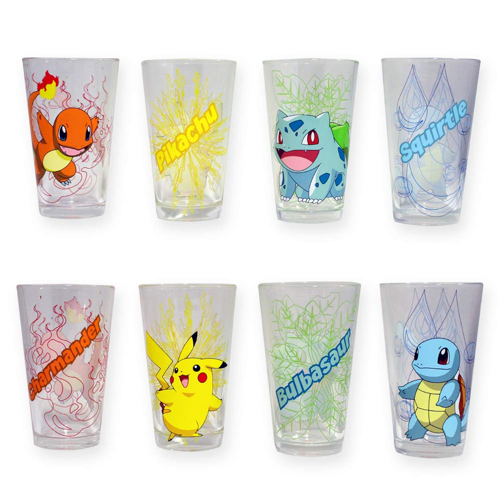 Official Pokemon Featuring Charmander, Bulbasaur, Squirtle, Pikachu Pint/Beer / Ale Drinking Glasses, Set of 4, 16 oz, GIFTS - Drinking Glass Pub, Glassware, Barware Just Funky